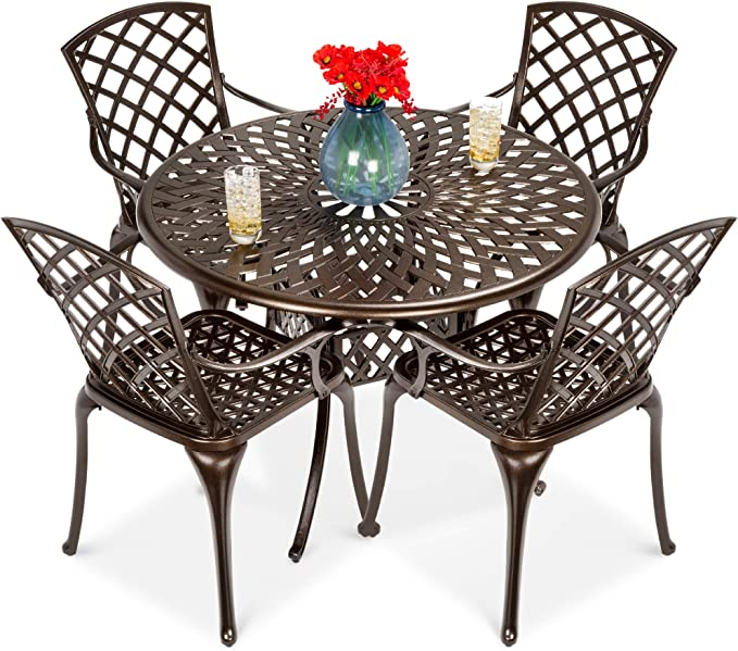 Dark Brown Metal Swivel Outdoor Dining Chair for Lawn Garden Backyard Weather Resistant CW Chair Patio Set of 2 Cast Aluminum High Back Rocker Cushion