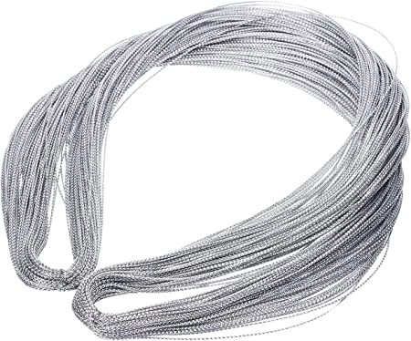 Silver Metallic Tinsel String Cord 1mm Non Stretch Thread for Ornament Hanging Gift Wrapping Craft Making Silver