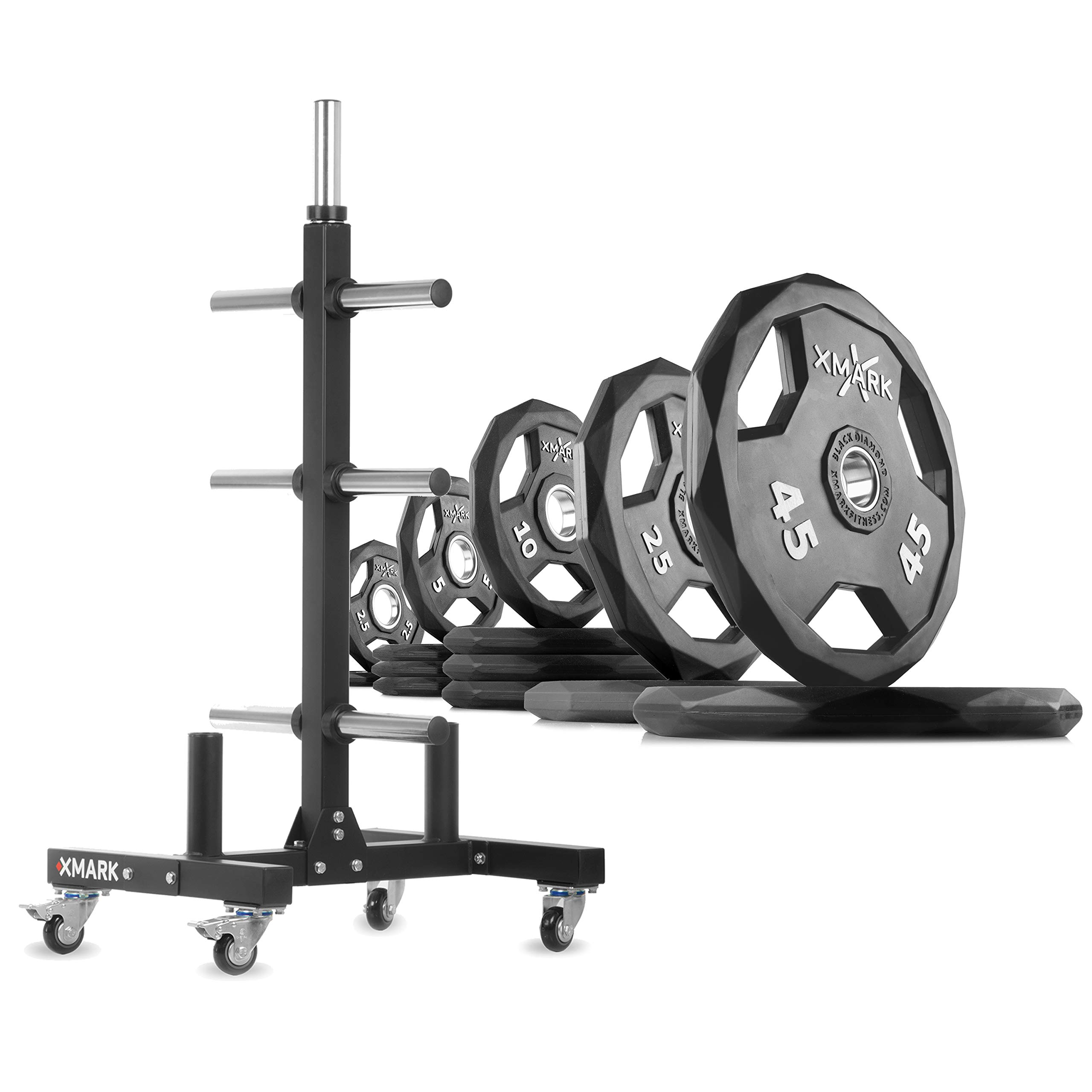 XMark XM-9055 Commerical Olympic Weight Tree Plus a 205 lb Set of Black Diamond Olympic Plates by XMark