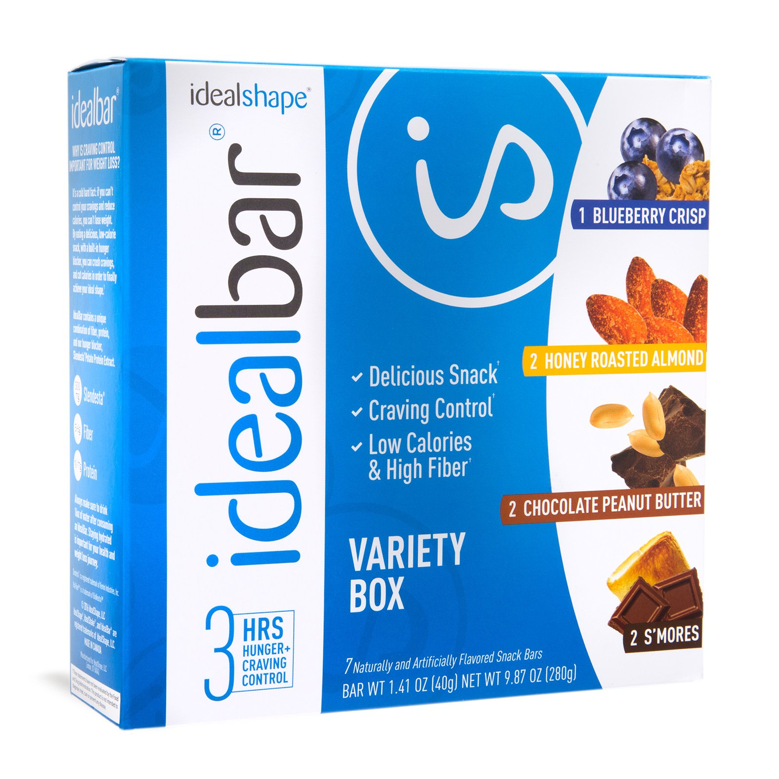 IdealBar, Meal Replacement Bars, Variety Box, w/ Hunger Blocker - 140 Calories, 7g Sugar, 10g Protein - 7 Bars