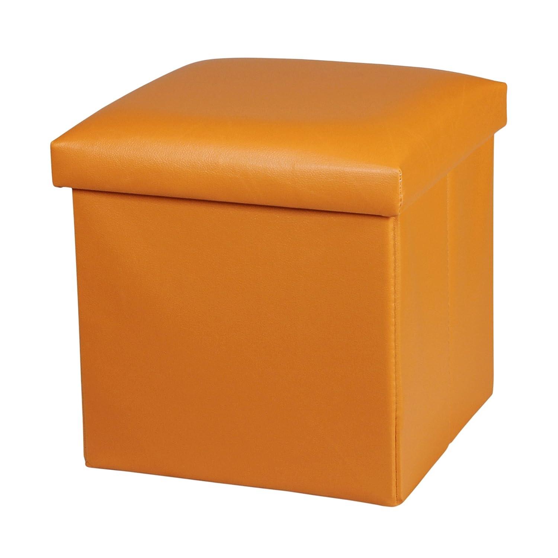 NISUNS OT01 Leather Folding Storage Ottoman Cube Footrest Seat, 12 X 12 X 12 Inches (Orange)