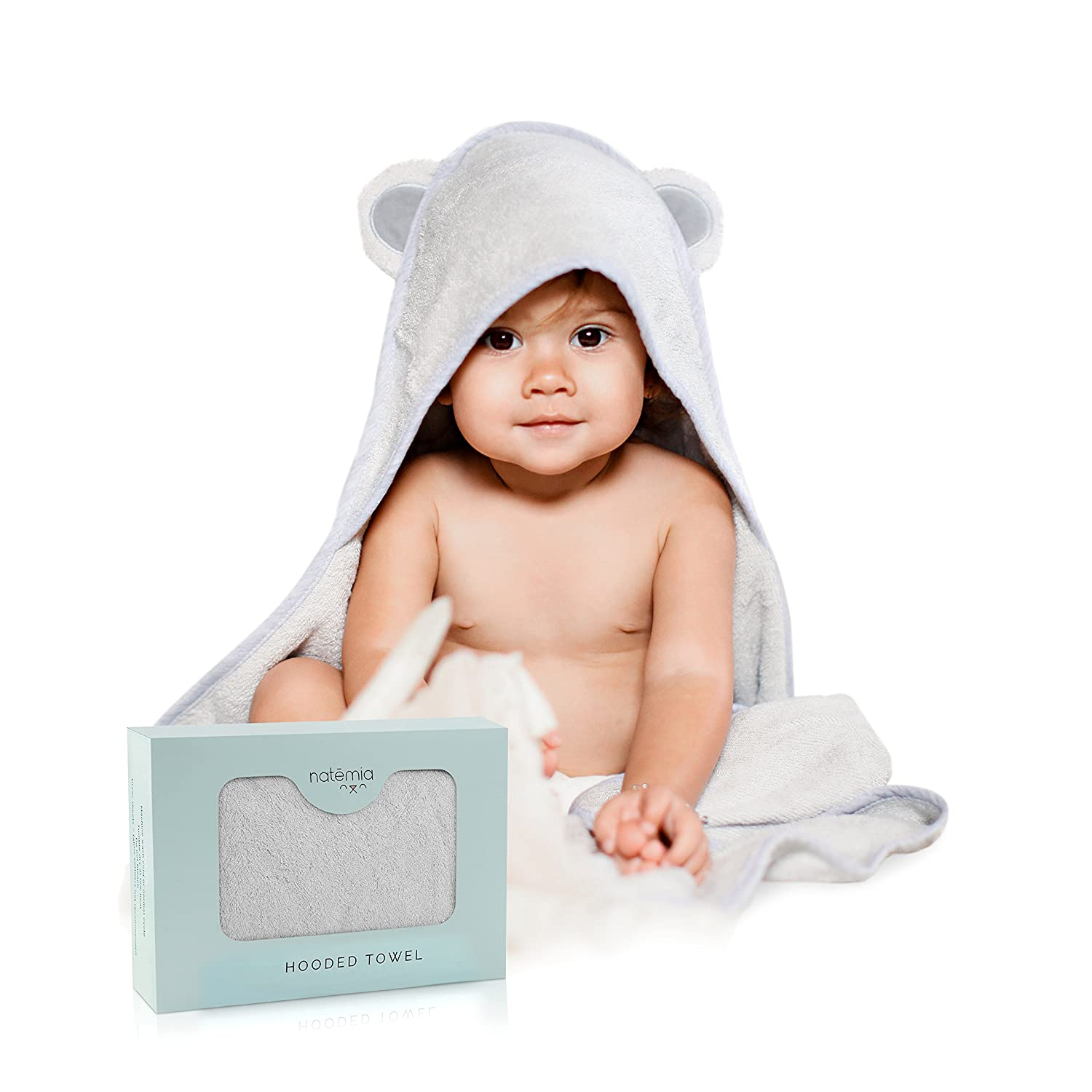 Natemia Rayon from Bamboo Hooded Baby Bath Towel | Highly Absorbent, Plush, Soft, Bacterial & Odor Resistant Towel | for Boys, Girls, Newborns & Infants| Great Baby Shower Gift