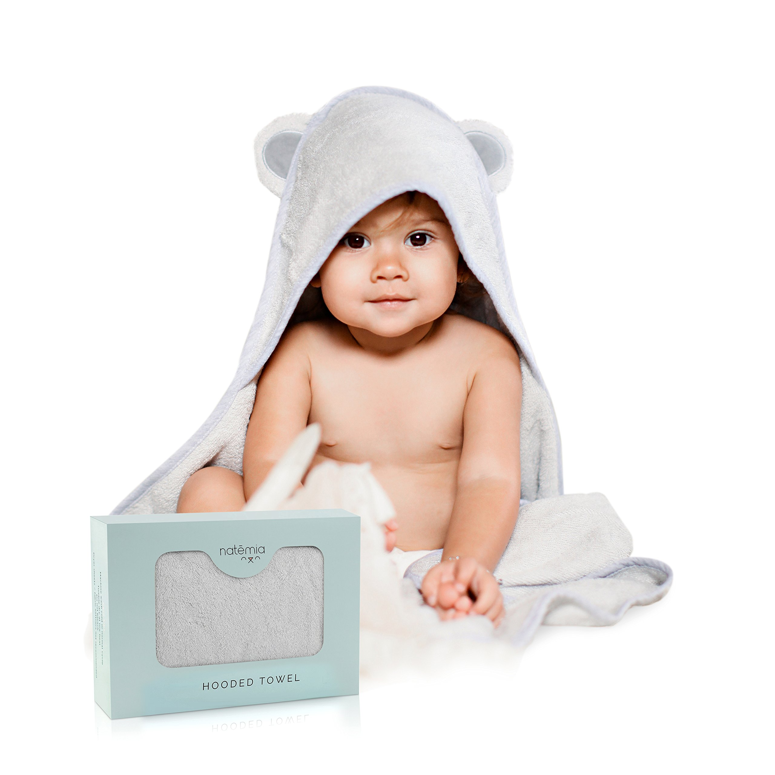 Natemia Rayon from Bamboo Hooded Baby Bath Towel   Highly Absorbent, Plush, Soft, Bacterial & Odor Resistant Towel   for Boys, Girls, Newborns & Infants  Great Baby Shower Gift