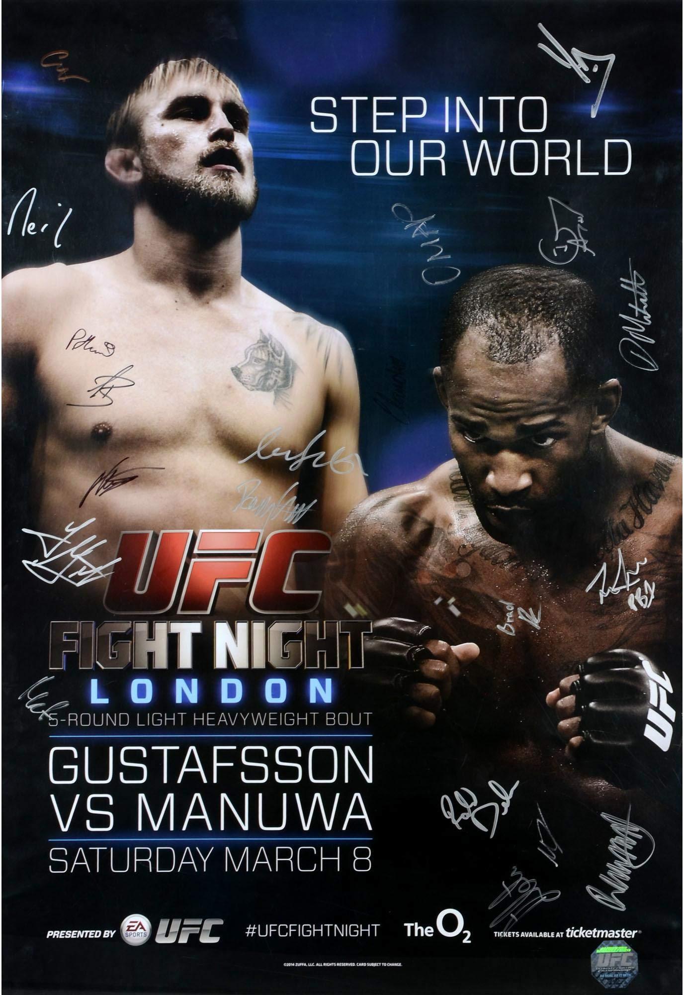 "UFC Fight Night 37 Gustafsson vs. Manuwa Autographed 27"" x 39"" 18 Signature Event Poster Fanatics Authentic Certified"