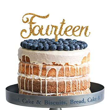 Amazon Fourteen Happy Birthday Cake Topper Gold Glitter Acrylic 14 Years Old Party Decoration Gifts Home Improvement