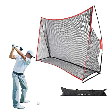 Pinty Practice Golf Net 10x7ft Large Training Hitting Net with Carrying Bag – Baseball Softball Golf Net for Indoor or Outdoor Use