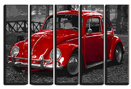 Big 5 Panel Set of Vintage Classic Car Canvas Wall Art / Canvas Print  Poster Picture / Volkswagen VW Beetle Bug Wall Painting on Canvas / Home  Wall