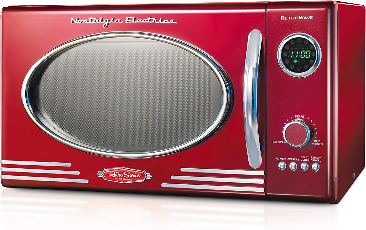 Nostalgia RMO4RR Retro Large 0.9 cu ft, 800-Watt Countertop Microwave Oven, 12 Pre-Programmed Cooking Settings, Digital Clock, Easy Clean Interior, ...
