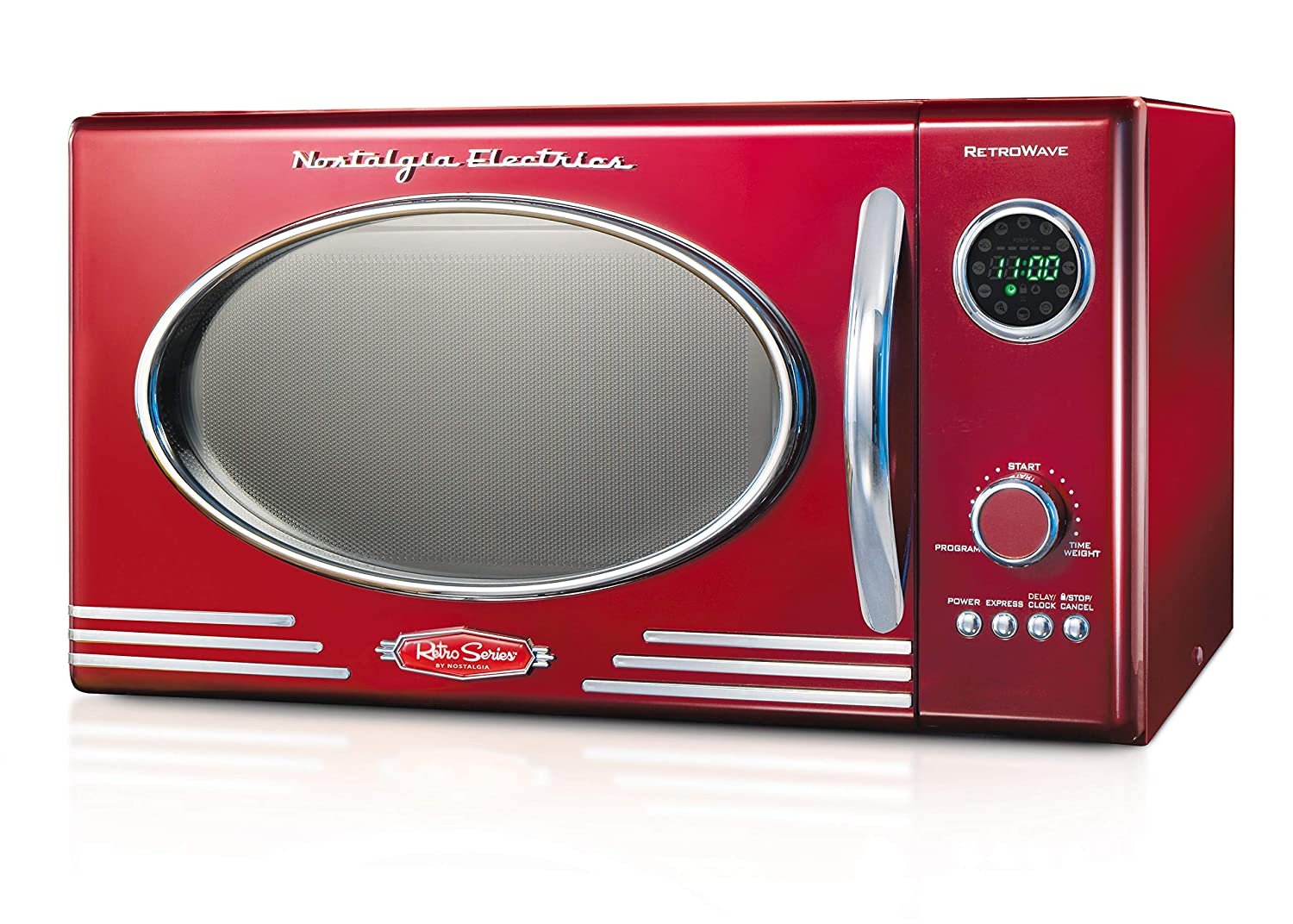 Nostalgia RMO4RR Retro Large 0.9 cu ft, 800-Watt Countertop Microwave Oven, 12 Pre-Programmed Cooking Settings, Digital Clock, Easy Clean Interior, Metallic Red