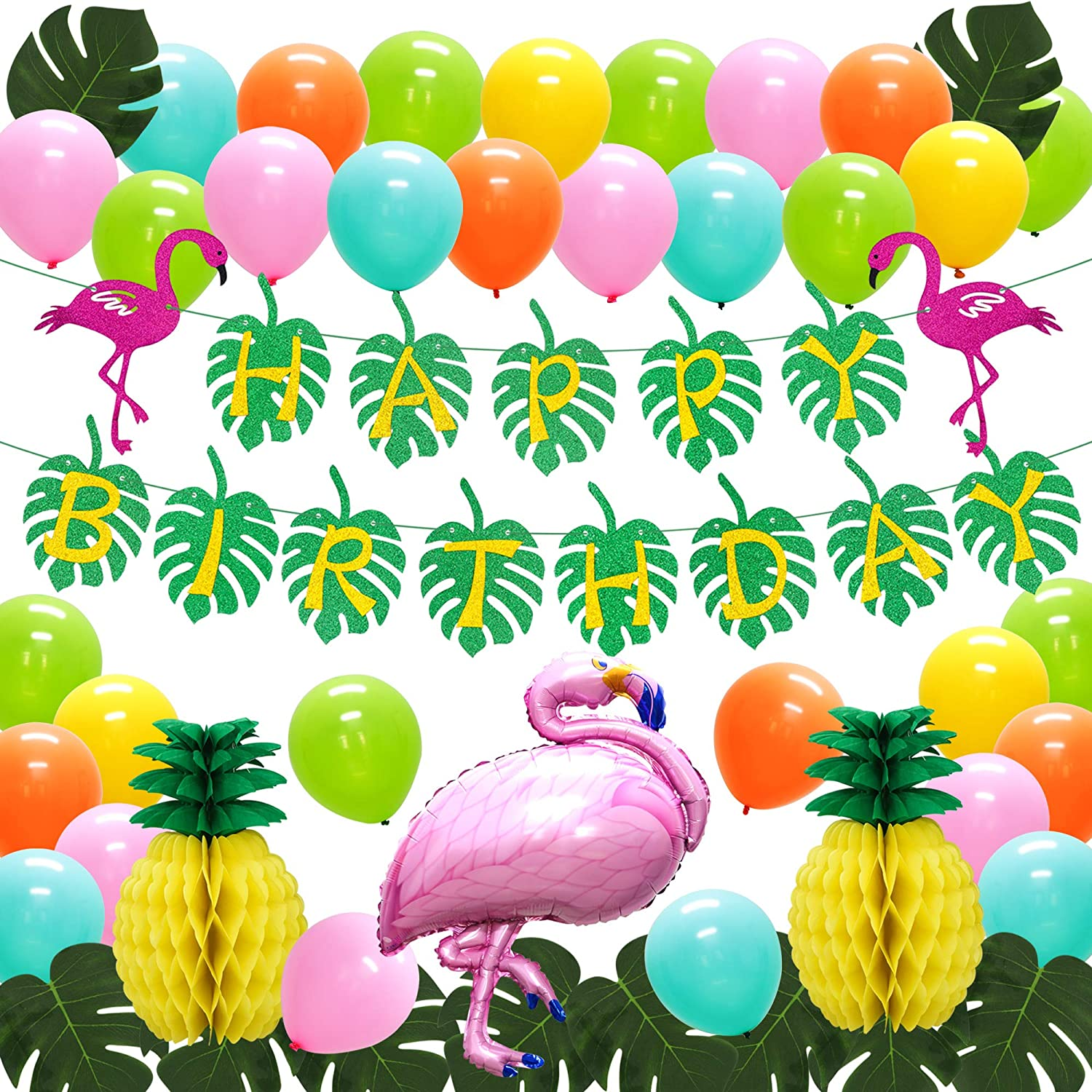 ADLKGG Hawaiian Themed Birthday Party Decorations, Flamingo and Pineapple Party Supplies - Happy Birthday Banner Tropical Palm Leaves, Flamingo Balloons Pineapple Honeycomb Balls for Bachelorette