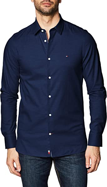 Tommy Hilfiger Slim Flex Herringbone Shirt Camisa para Hombre
