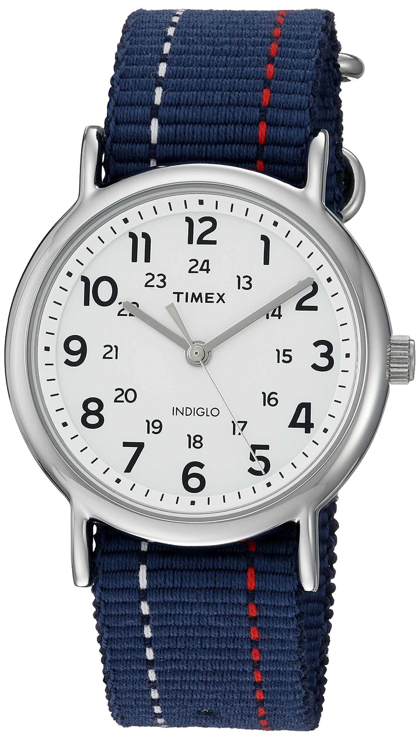 Timex Unisex TW2R107009J Weekender Blue Denim Red and White Stitching Slip-Thru Strap Watch by Timex