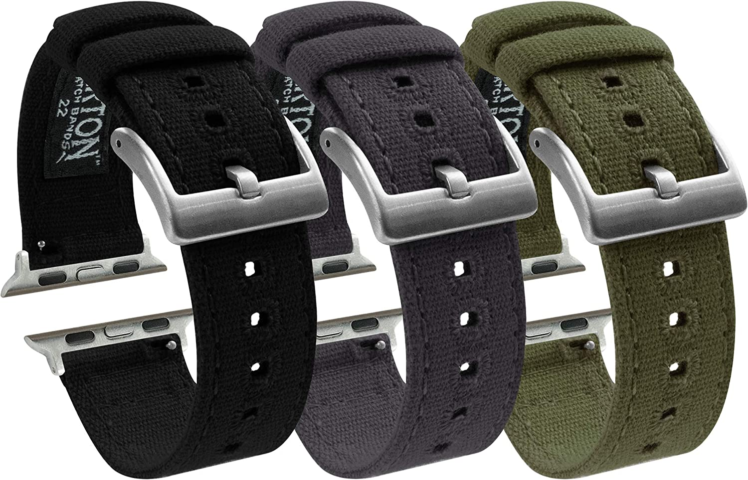 Barton Canvas Watch Bands - 3 Color Bundle - Compatible with All Apple Watches - 42mm & 44mm