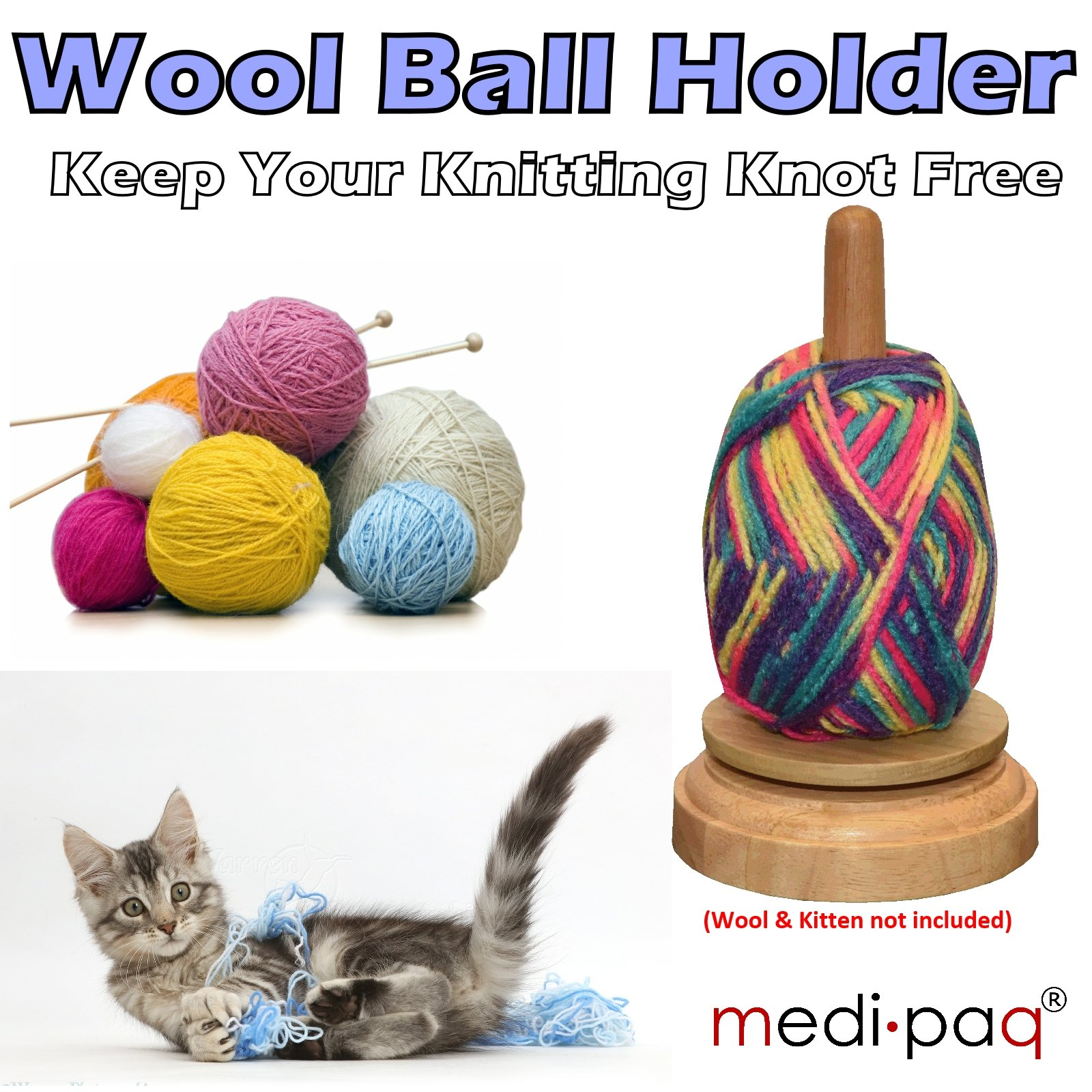 Wooden Knitting Wool Holder : New wooden revolving wool ball holder knitting knots