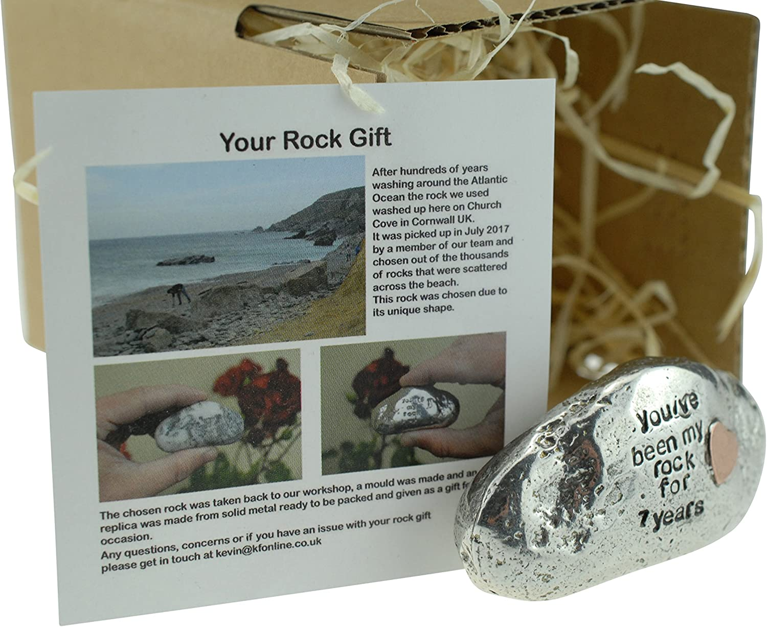 Heavy Rock Gift Solid 7th Anniversary Metal Rock With Copper Heart Inset Pirantin Youve Been My Rock For 7 Years