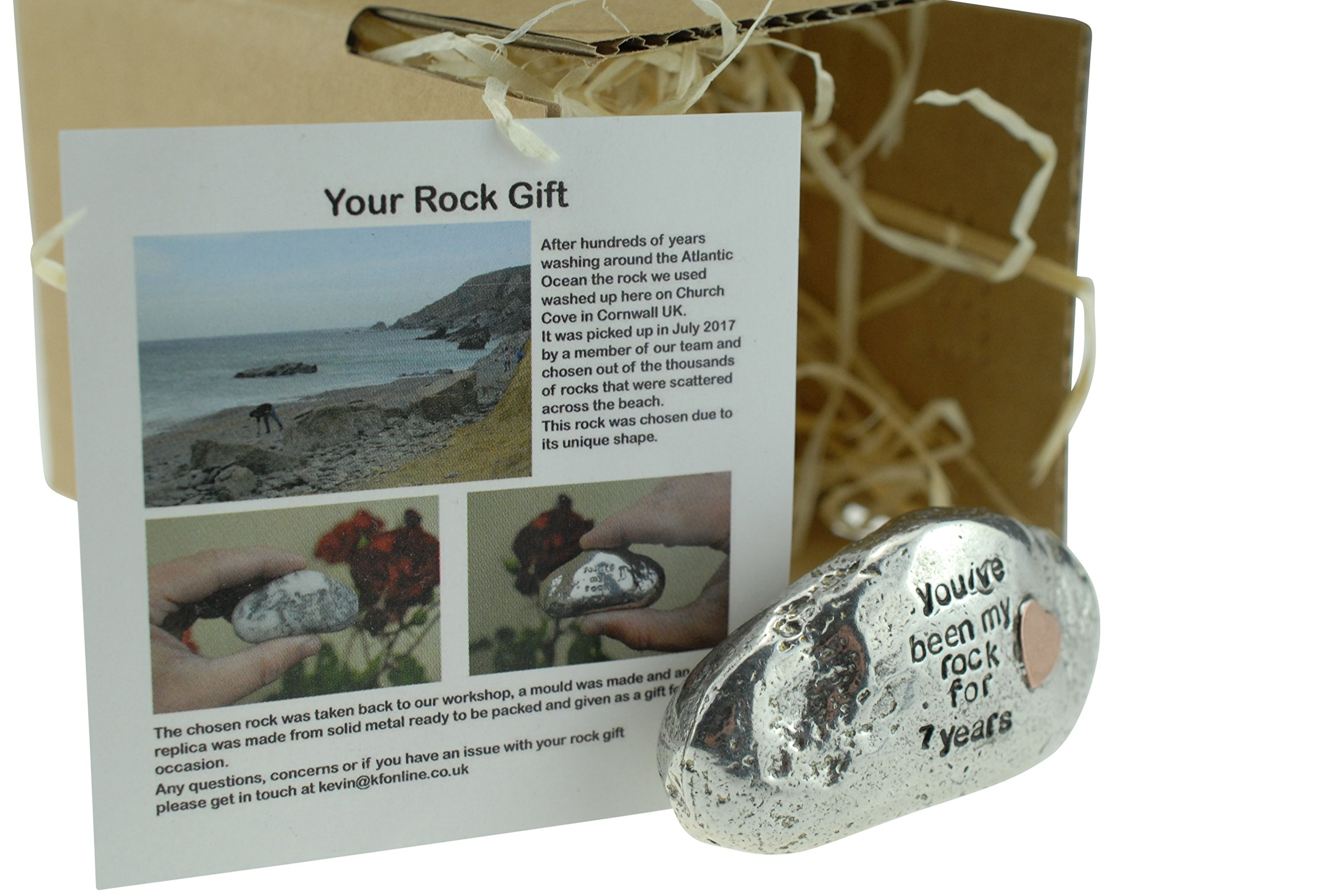 Pirantin You've Been My Rock For 7 Years - Solid 7th Anniversary Metal Rock With Copper Heart Inset - Heavy Rock Gift