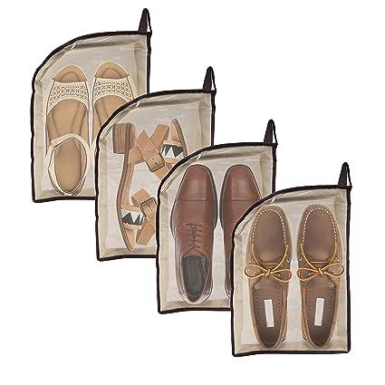 Bolsas para zapatos - Pack 4 Belle Vous Bolsas Transparentes de Material No Tejido e Impermeable para Viajar, Ahorrar Espacio, Guardar debajo de la ...