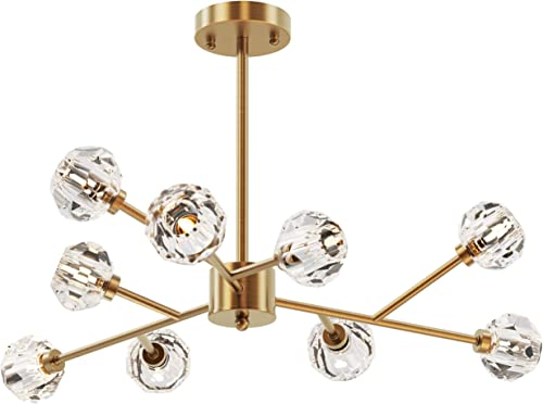 SEOL-Light Retro Brass Sputnik Crystal Ball Shade Branches Chandeliers Hanging Pendant Ceiling Light Polished Gold