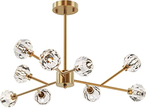 Amazon Com Seol Light Retro Brass Sputnik Crystal Ball Shade Branches Chandeliers Hanging Pendant Ceiling Light Polished Gold With 9 Light 360w Large Size 31 5 Dia Home Improvement