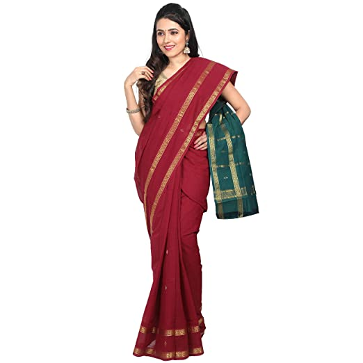APCO (An Andhra Pradesh Govt. Enterprise) Women's Handloom Traditional Rajahmundry Cotton Saree Without Blouse Piece, Maroon