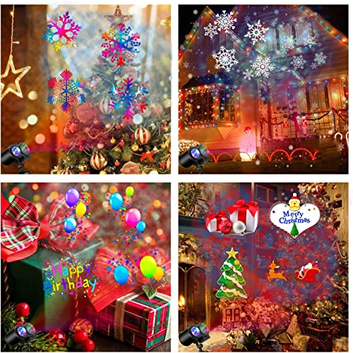 Halloween Christmas Projector Lights, Remote Control 2-in-1 Moving Patterns with Ocean Wave LED Landscape Lights Waterproof Outdoor Indoor Xmas Theme Party Yard Garden Decorations 16 Slides 10 Color