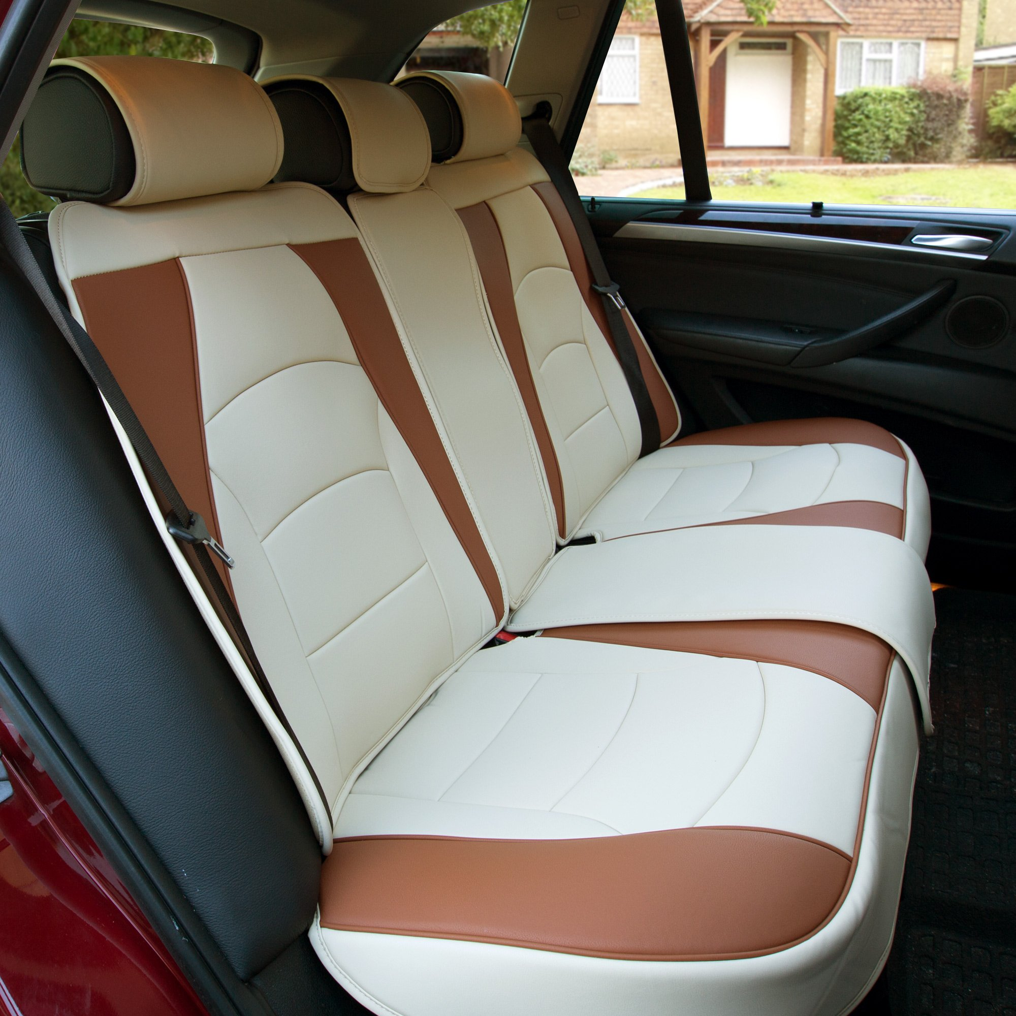 FH Group PU205013BEIGEBROWN Bench PU205BEIGEBROWN013 Ultra Comfort Leatherette Rear Seat Cushions Beige and Brown