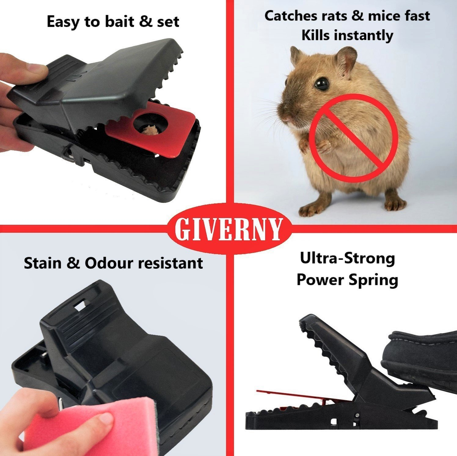 GIVERNY Rat Trap & Mouse Trap (6 Pack) Catch Rodents Fast, Easy & Safe to  use, Quick & Effective Rat Killer, Kill Instantly, Humane Death - BONUS