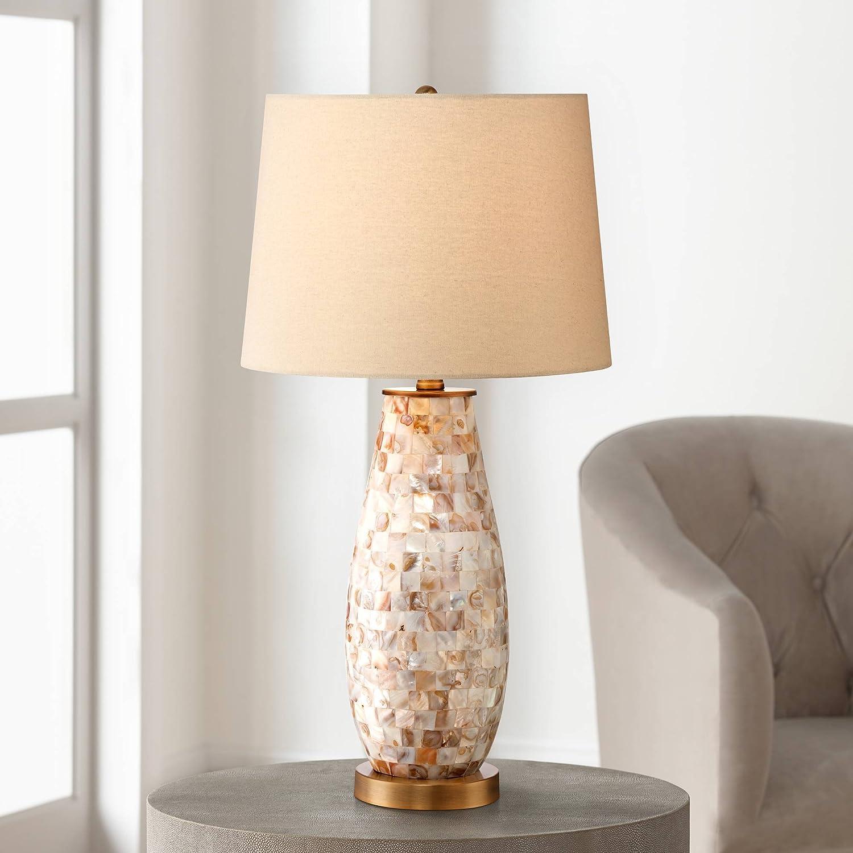 Kylie Cottage Table Lamp Mother of Pearl Tile Vase Beige Drum Shade for Living Room Family Bedroom Bedside Nightstand - Regency Hill