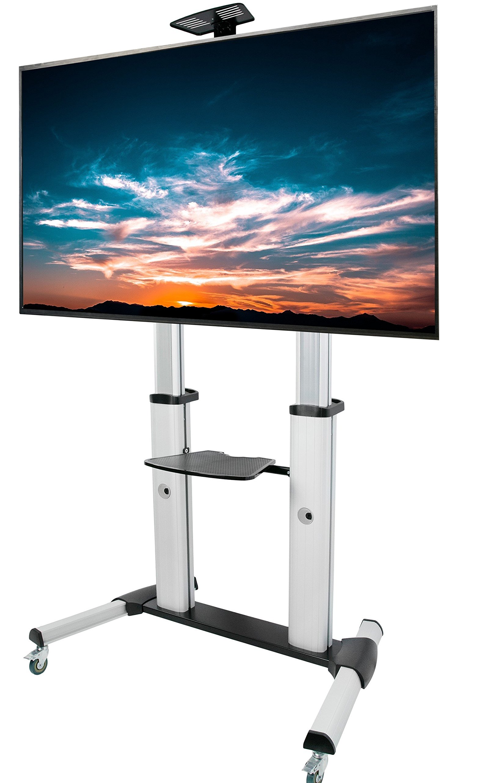 VIVO Ultra Heavy Duty Mobile 60 to 100 inch TV Stand for Flat Screens | Adjustable, Rolling TV Cart Mount with Wheels (STAND-TV22S) by VIVO