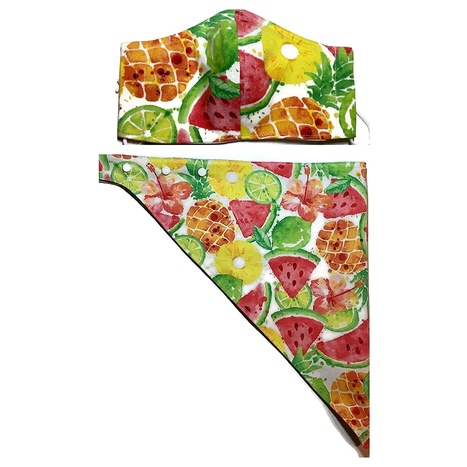 Matching Set Tropical Fruit Puppy Dog Bandana Fitted Face Mask, Watermelon Lime Pineapple Slice Hibiscus Hawaiian, 100% Cotton cloth, Adjustable Fit Snap-On, Ear Elastic Around Head Tie Nose Wire