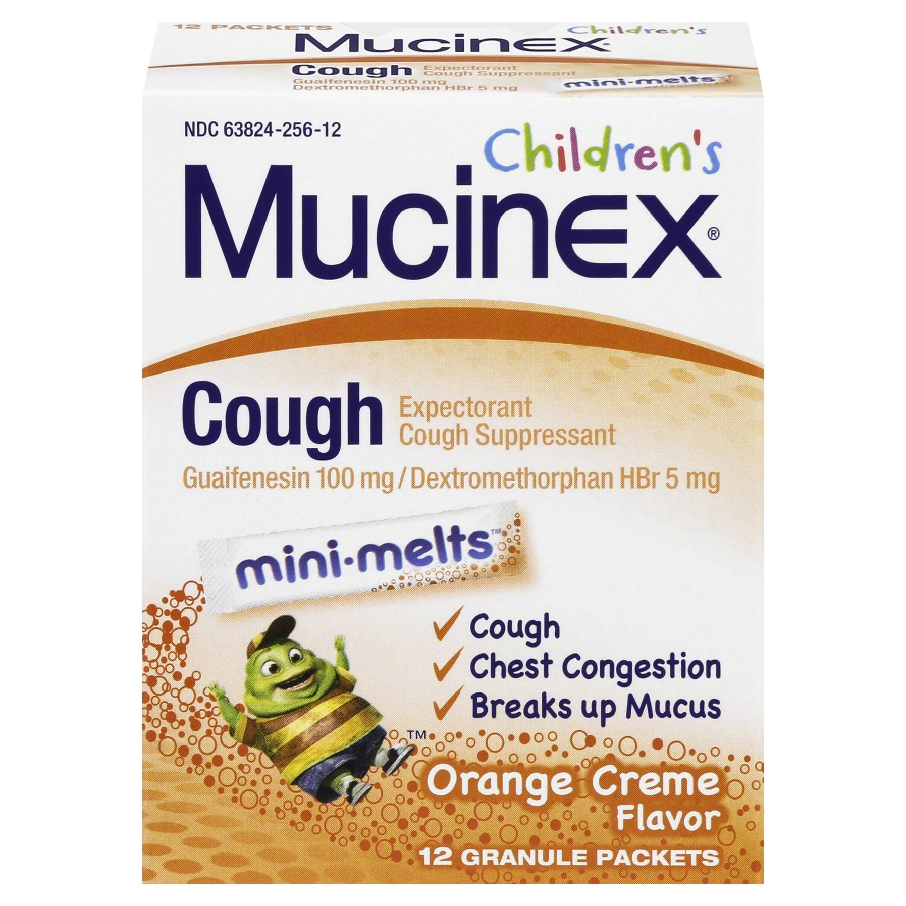 Mucinex Children's Chest Congestion Expectorant and Cough Suppressant Mini-Melts, Orange Crème (12 ct)