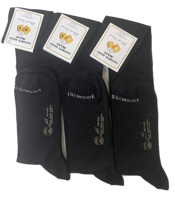 Lucchetti Socks Milano 6 PAIA di calze calzini UOMO LUNGHE caldo cotone ELASTICIZZATE,100/% Made in Italy