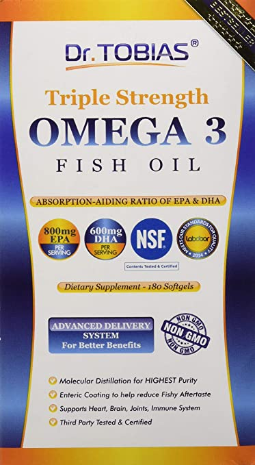 Product thumbnail for Dr. Tobias Triple Strength Omega 3 Fish Oil