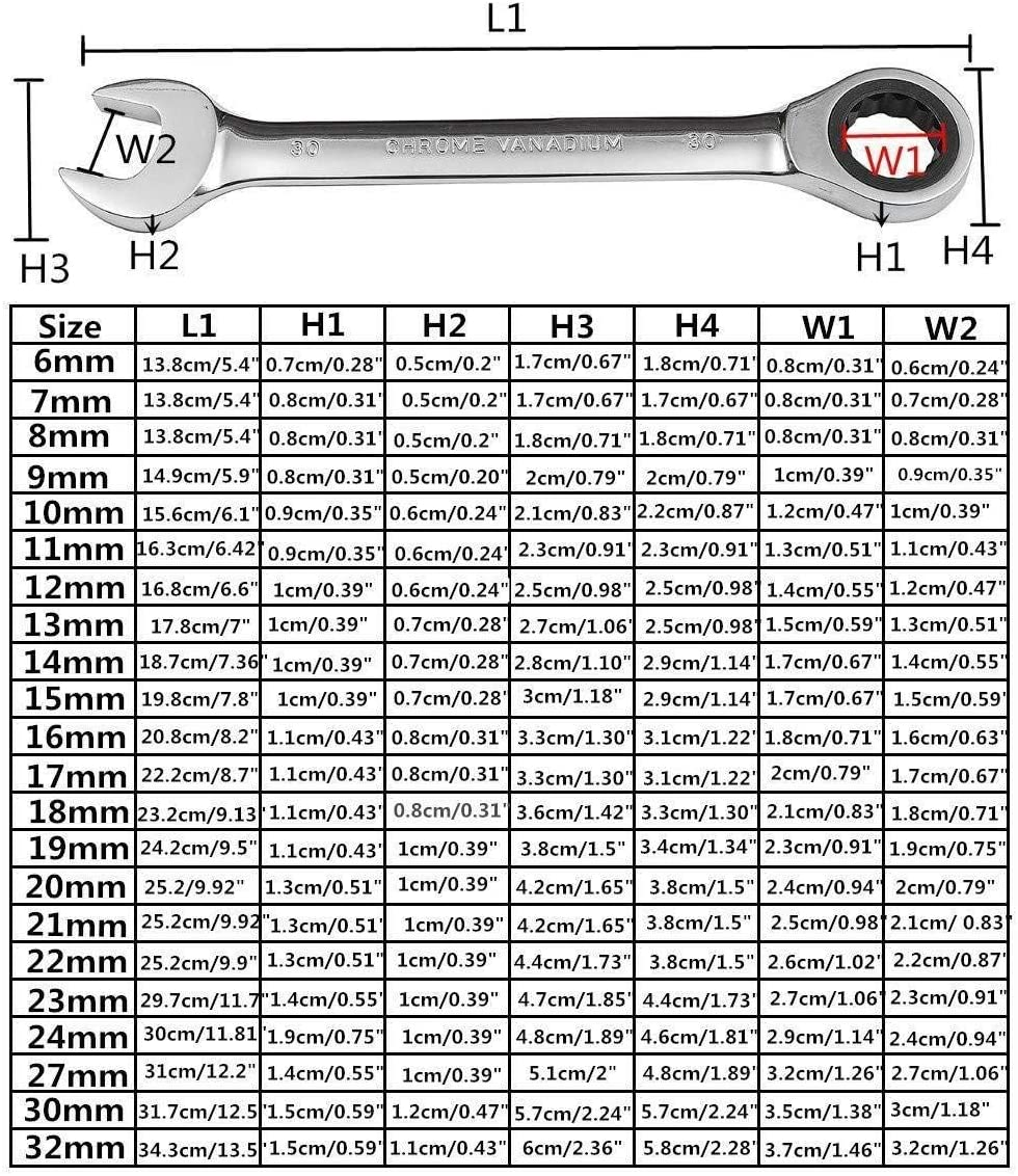 SHENYUAN 6mm-27mm Ratcheting Box Combination Wrenches for Car Repair Ring Spanner Hand Tools a Set of Key Hand Tools Wrench Set Size : 17mm