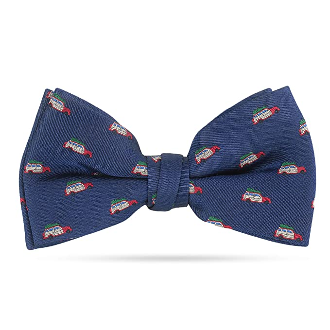 6ebc4a071d90 Christmas Bow Ties For Men Pre Tied Holiday Woven Bowtie Navy Blue Red  Vacation Funny Bow