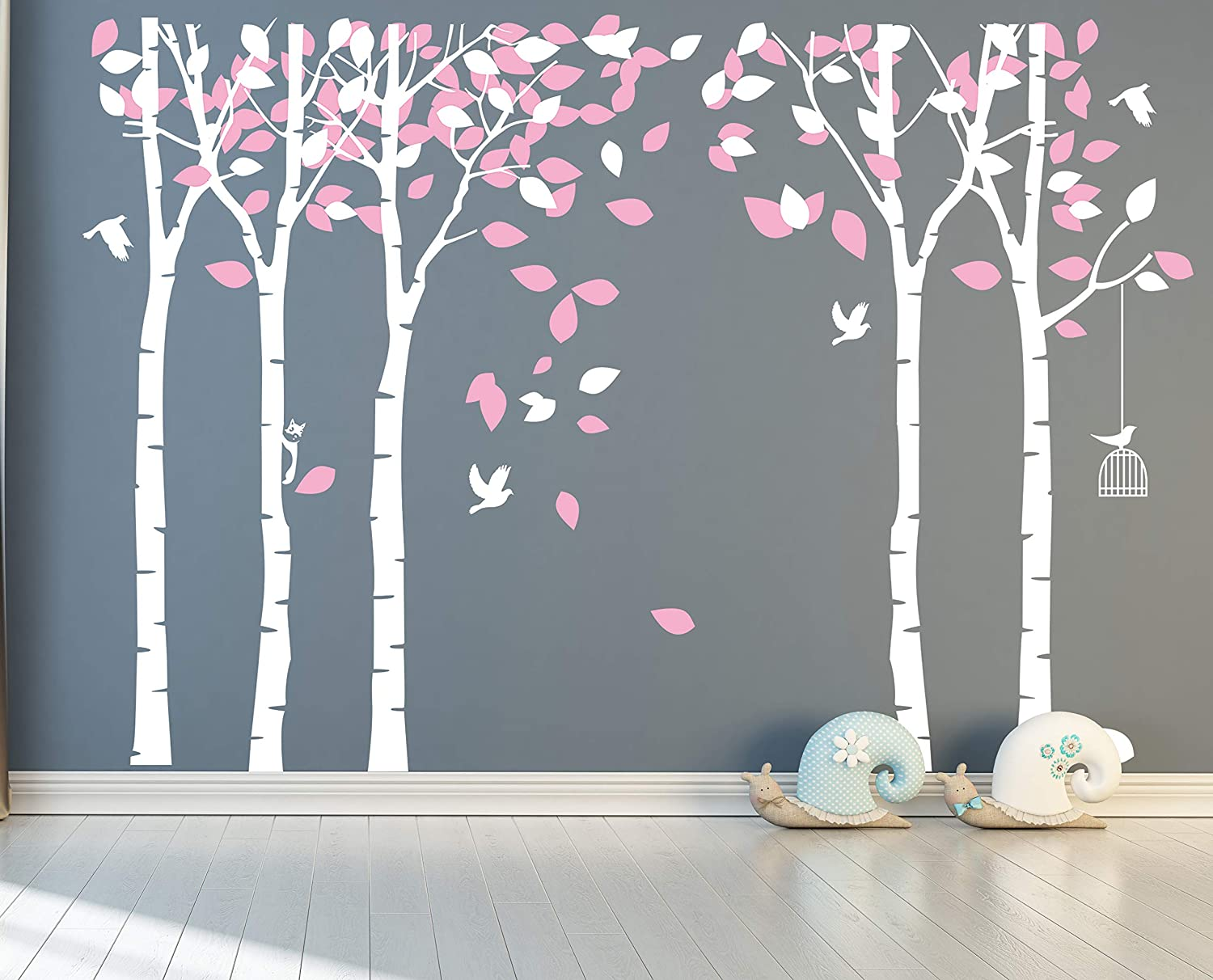 ANBER Giant Jungle Tree Wall Decal Removable Vinyl Sticker Mural Art Bedroom Nursery Baby Kids Rooms Wall Décor (White and Pink)