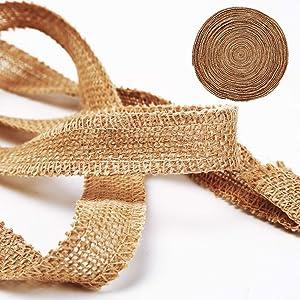 KINJOEK 1 Inch Wide 54 Yards Burlap Ribbon, Natural Jute Fabric Ribbon Crafts Ribbon for Christmas Wedding Gifts Burlap Fabric DIY Ribbon for Decoration