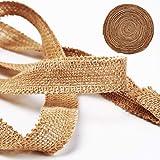 KINJOEK 1 Inch Wide 54 Yards Burlap Ribbon, Natural Jute Fabric Ribbon Crafts Ribbon for Christmas Wedding Gifts Burlap…