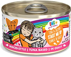 B.F.F. OMG - Best Feline Friend Oh My Gravy!, Tuna & Salmon Start Me Up with Tuna & Salmon, 2.8oz Can (Pack of 12)