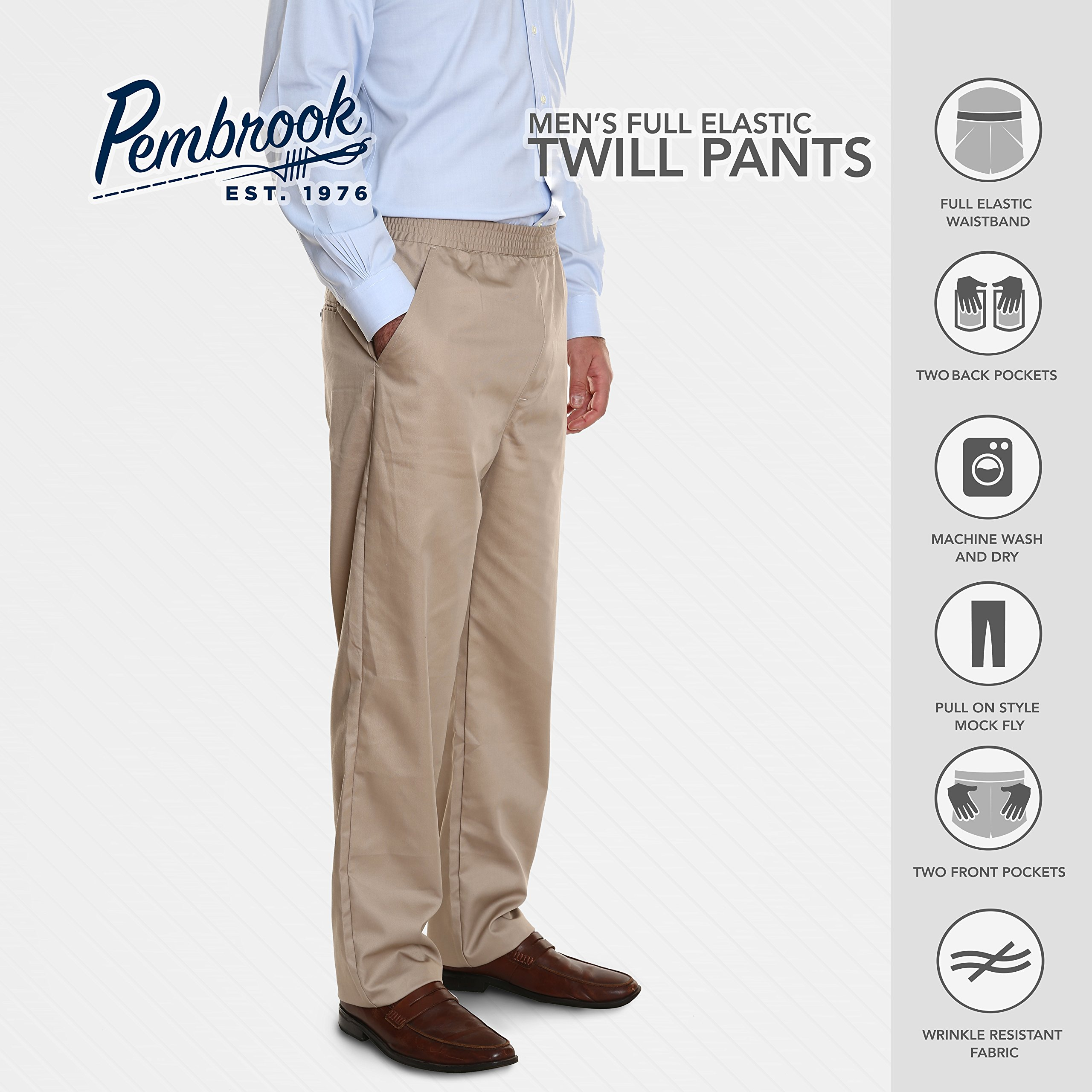 Pembrook Men's Full Elastic Waist Twill Casual Pant - L - Tan by Pembrook (Image #7)
