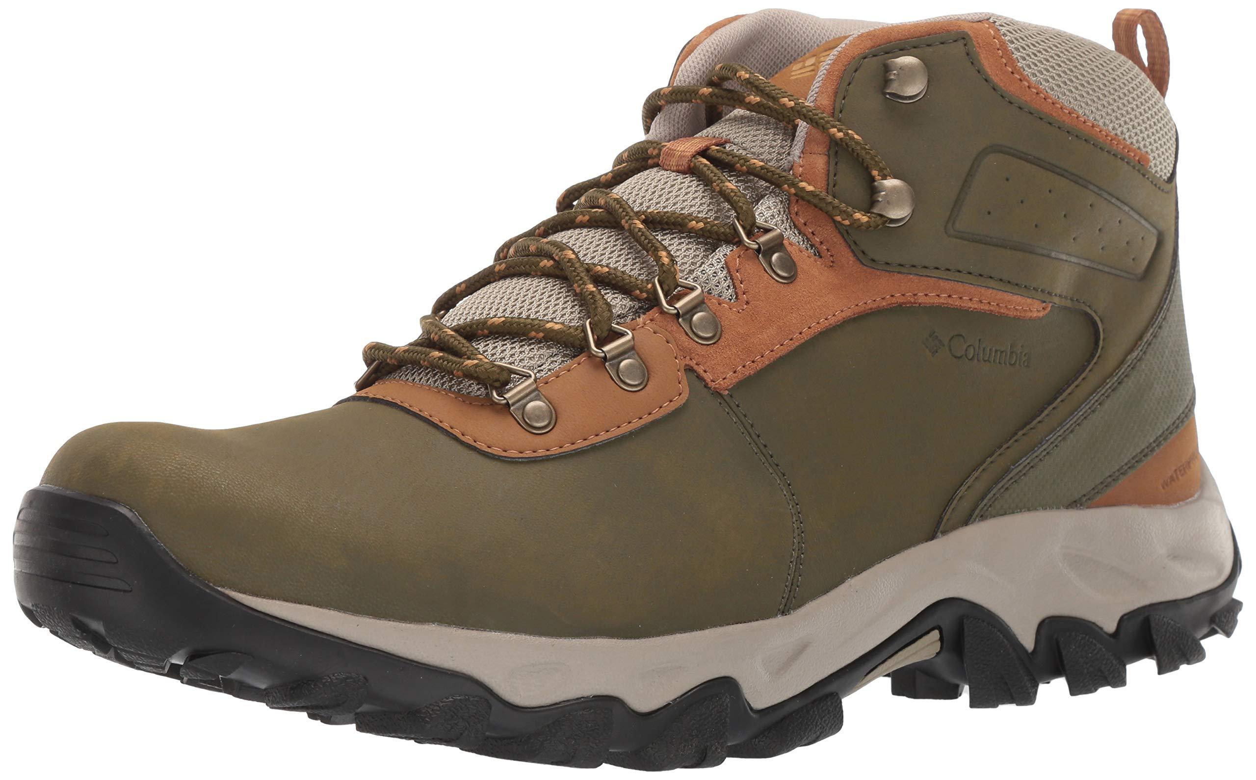 Columbia Men's Newton Ridge Plus II Waterproof Ankle Boot, Silver sage, Dark Banana, 11.5 Regular US