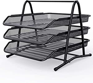 ZONGOOL Desk Organizer Mesh Paper Tray 3 Tier, Office File Organizer with Sliding Drawer, Storage Rack for Desk Accessories, Desktop File Organizer in Home/Office/Dorm Decor
