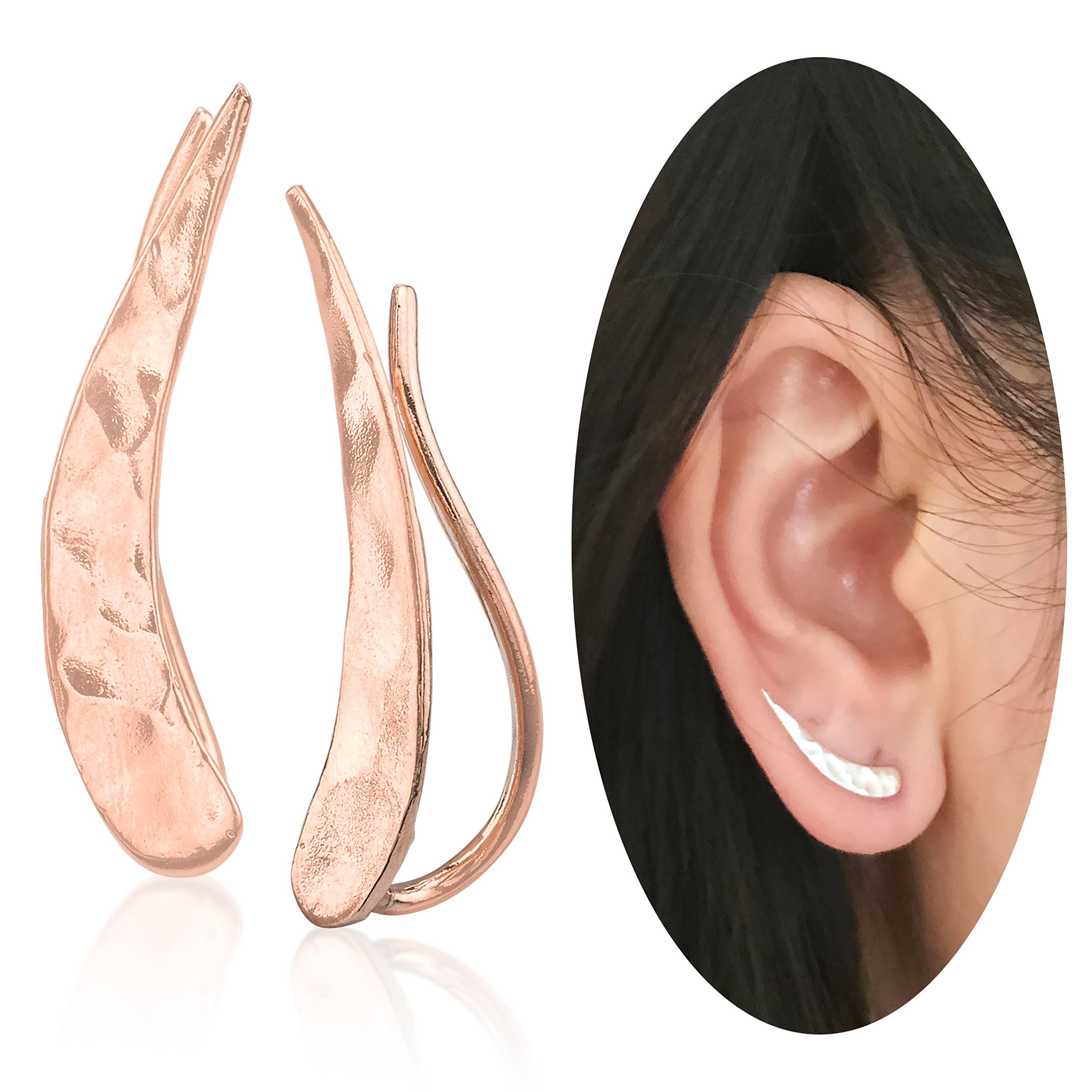 Ear Climber Crawler Cuff Earrings - 925 Sterling Silver Plated with 18K Rose Gold