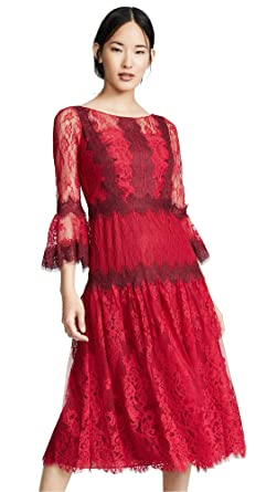 da9e842f326 Marchesa Notte Women s Mixed Lace Tea Length Cocktail Dress at ...