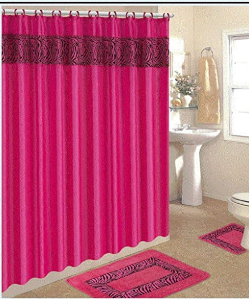 4 Piece Bath Rug Set/ 3 Piece Pink Zebra Bathroom Rugs With Fabric Shower  Curtain