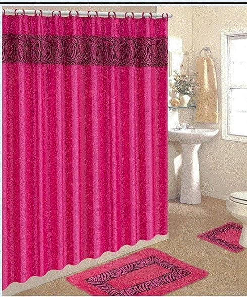 Amazon.com: 4 Piece Bath Rug Set/ 3 Piece Pink Zebra Bathroom Rugs ...