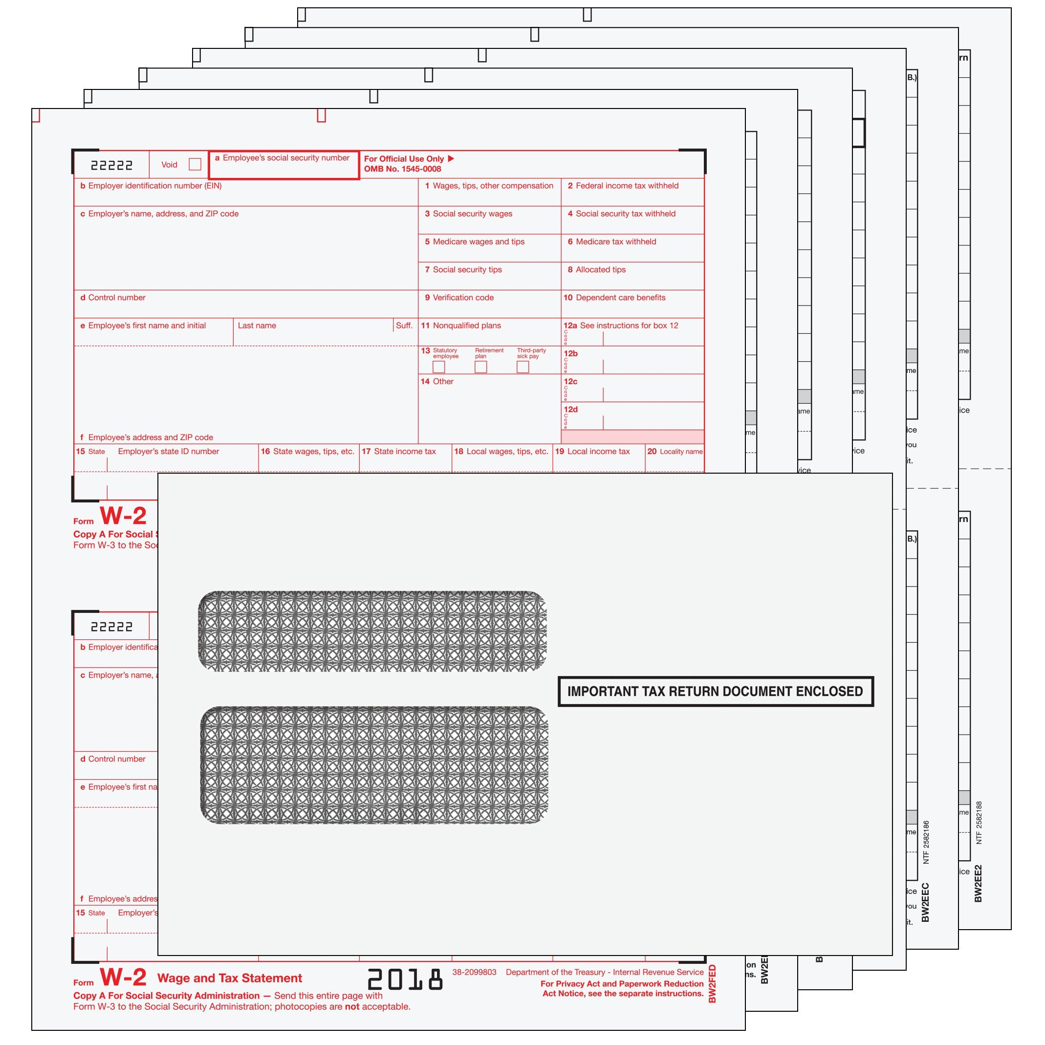 2018 Laser Tax Forms - W-2 Income (6-Part Set) & Envelope Kit for 25 Employees - Park Forms
