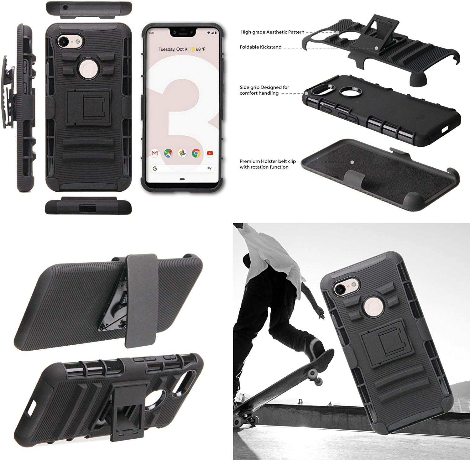 Tempered Glass Screen Protector and Atom Cloth Purple Nebula BC Rugged Series Compatible with Google Pixel 3 XL Case Bundle with Heavy Duty Armor Cover with Belt Clip Holster