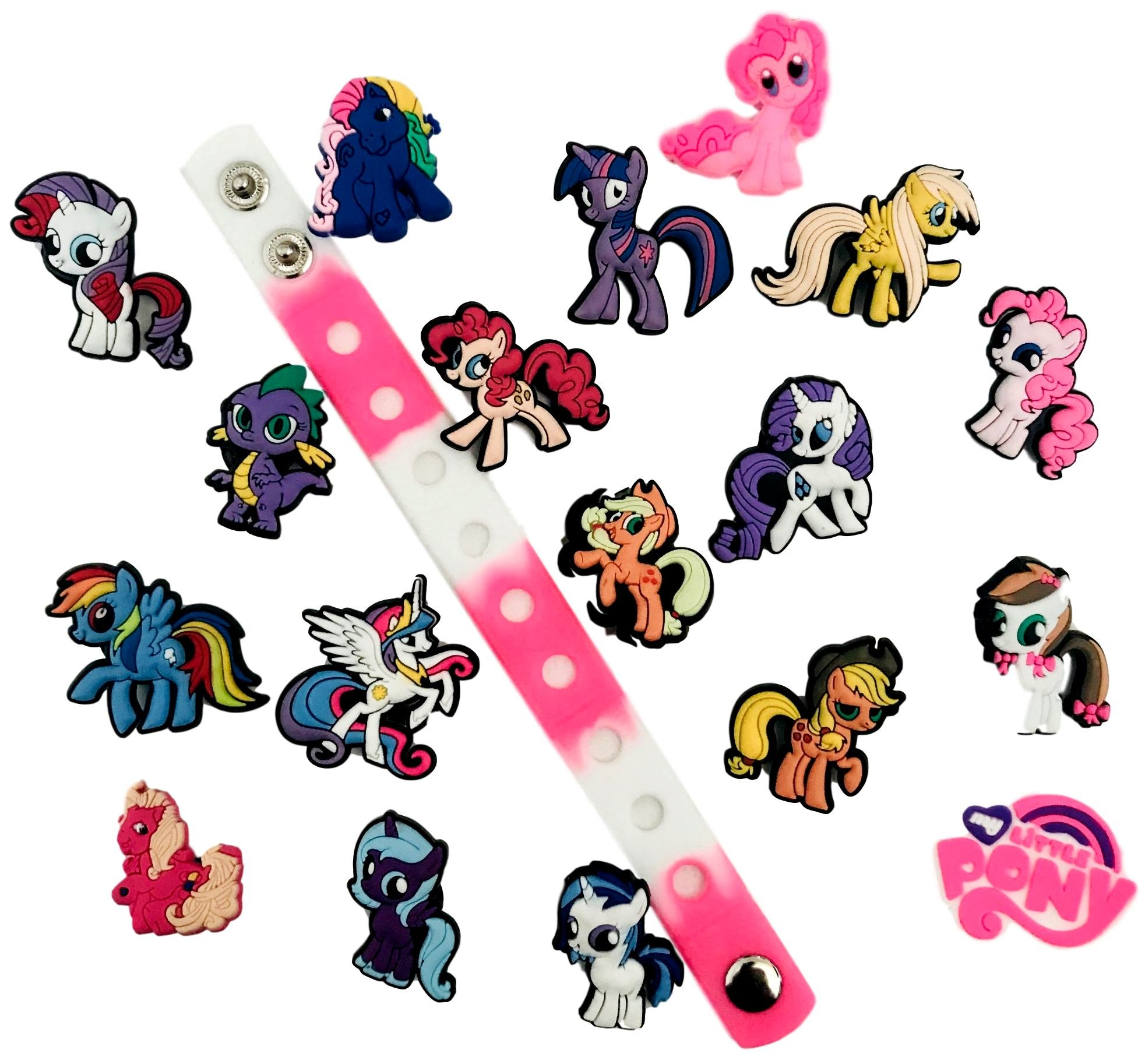Cute Jibbitz Shoe Charms PVC Plug by Nenistore| Accessories for Croc Shoes & Bracelet Wristband Party Gifts | My Little Pony (Set of 8 assorted pcs) FREE 01 Silicone Wristband 7 inches