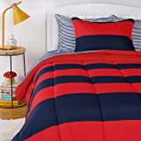 Amazon Basics Kids Easy-Wash Microfiber Bed-in-a-Bag Rugby Stripe Bedding Set - Twin, Red/Navy